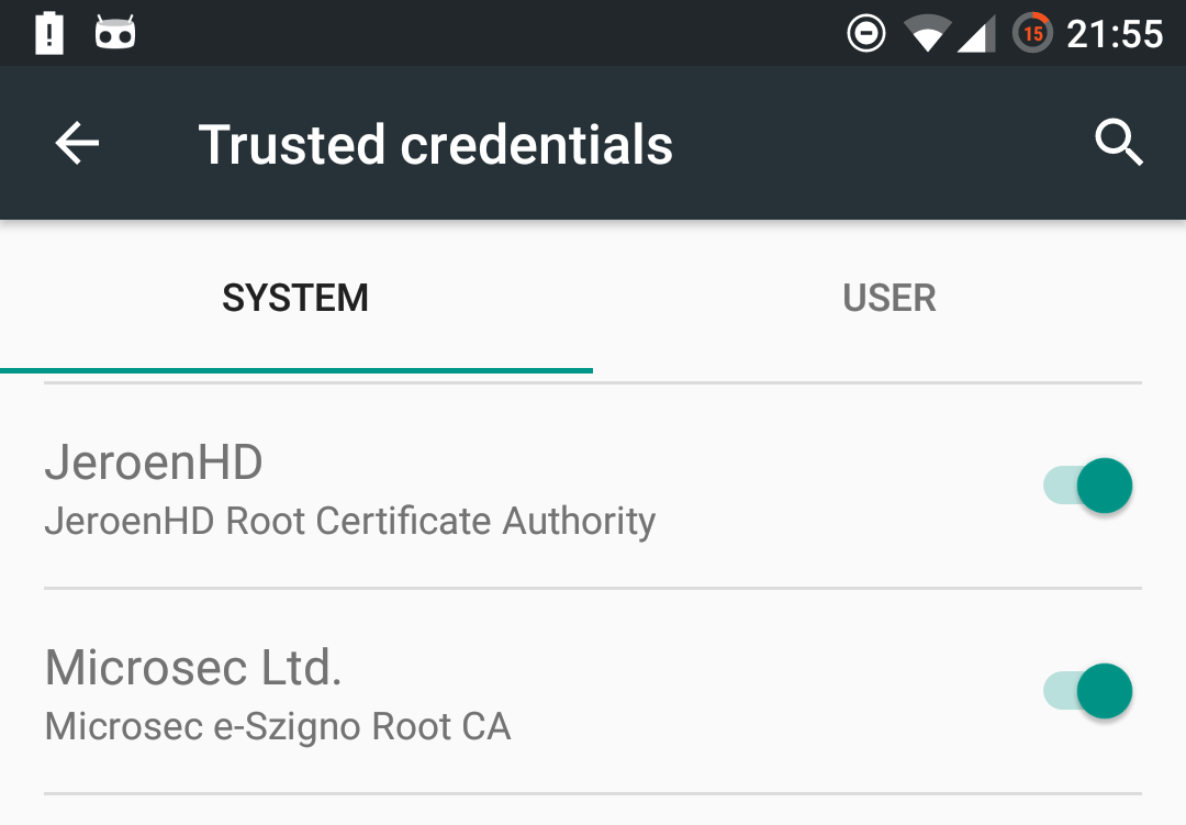 Android 7 nougat and certificate authorities the jeroenhd blog open your device settings and navigate to security trusted credentials look through the list to see if you can see your certificate yelopaper